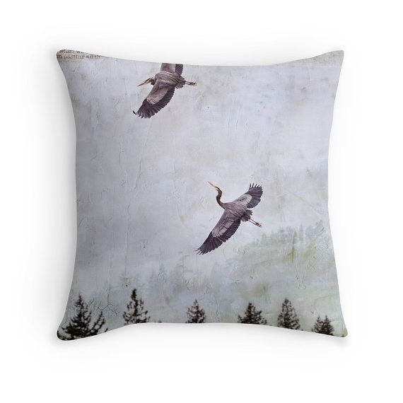 Heron Throw Pillow Neutral Cushion Grey by PeggyCollinsPhotoArt