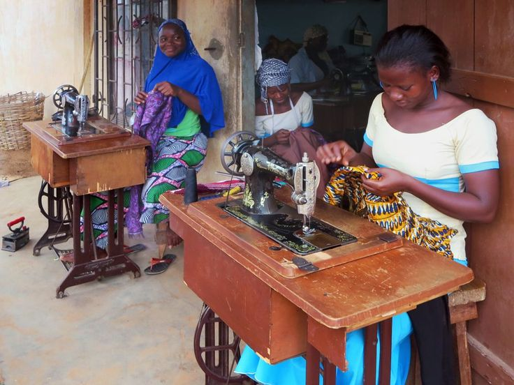 Seamstresses at work at Djamina Couture in Lome, Togo.
