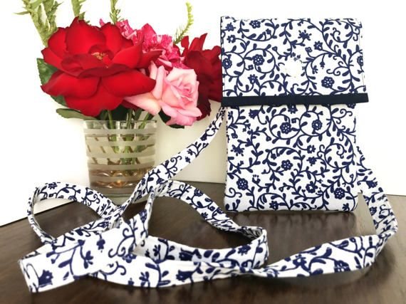Blue and White Cross body bag Floral Sling by AddaSplashofColour