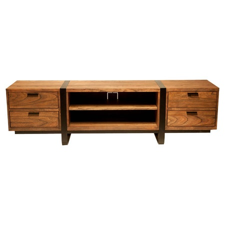 Eastern-inspired media cabinet in java with black iron banding.    Product: Media cabinetConstruction Material: E...