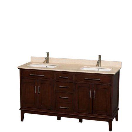 Wyndham Collection Hatton 60 inch Double Bathroom Vanity in Dark Chestnut   Ivory Marble Countertop. 17 Best ideas about Dark Vanity Bathroom on Pinterest   Black
