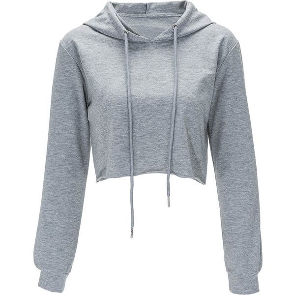 Gray Solid Color Drawstring Hooded Crop Sweatshirt (€11) ❤ liked on Polyvore featuring tops, hoodies, sweatshirts, shirts, sweaters, jackets, crop tops, grey, grey long sleeve shirt and cropped sweatshirt