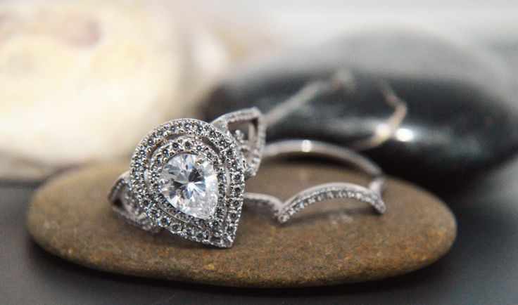 Double halo AAAAA grade pear shape .925 sterling silver engagement wedding set by IsaBellaJewellery on Etsy