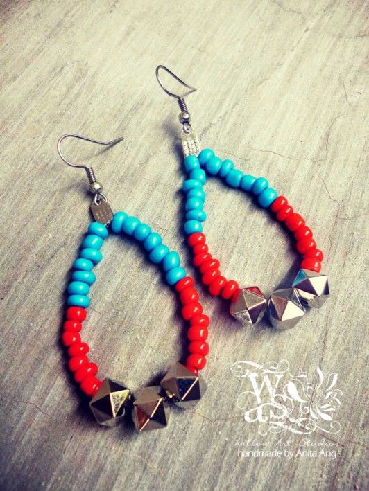 New collection. Beaded metal earring by Willow Art Studios.