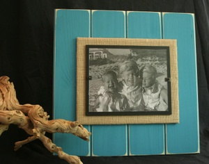 Beach.. picture frame… burlap and painted back boards with distressed paint. P