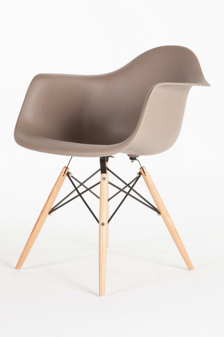 Grey Mid-Century Eiffel Arm Chair//