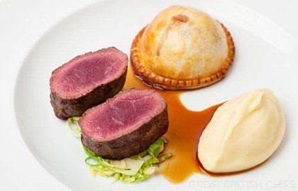 Roast Venison, Mushroom Pie & Parsnip Puree - I like the idea of a mini pie or onion tarte tartin as a part of a dish