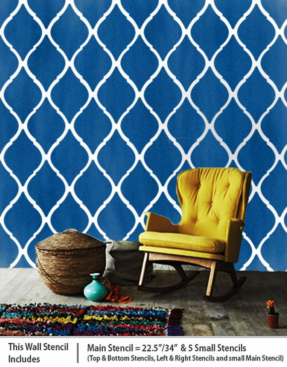 DIY Stencils, Wall Décor, Large Moroccan Wall Stencil Pattern, Reusable homemade stencil design