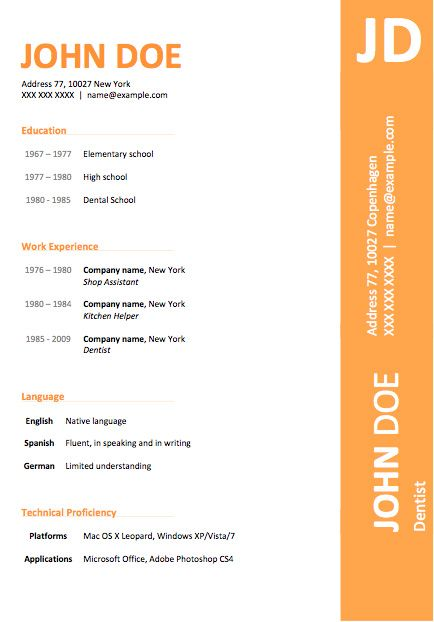 resume in word format download for free