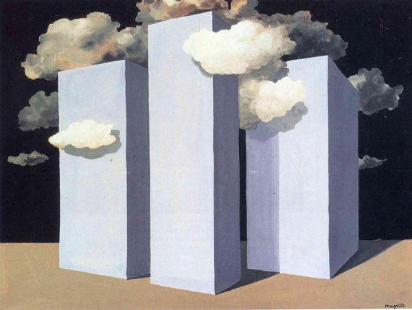 Reproduction de Magritte, La tempête. Tableau peint à la main dans nos ateliers. Peinture à l'huile sur toile.