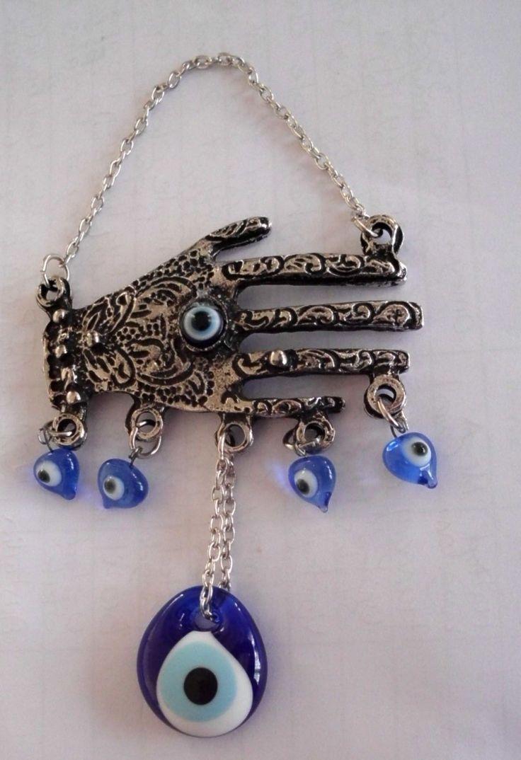 Fatima's Hand Turkish Glass Evil Eye Lucky Hangings With Beads, 14 Cm Hamsa