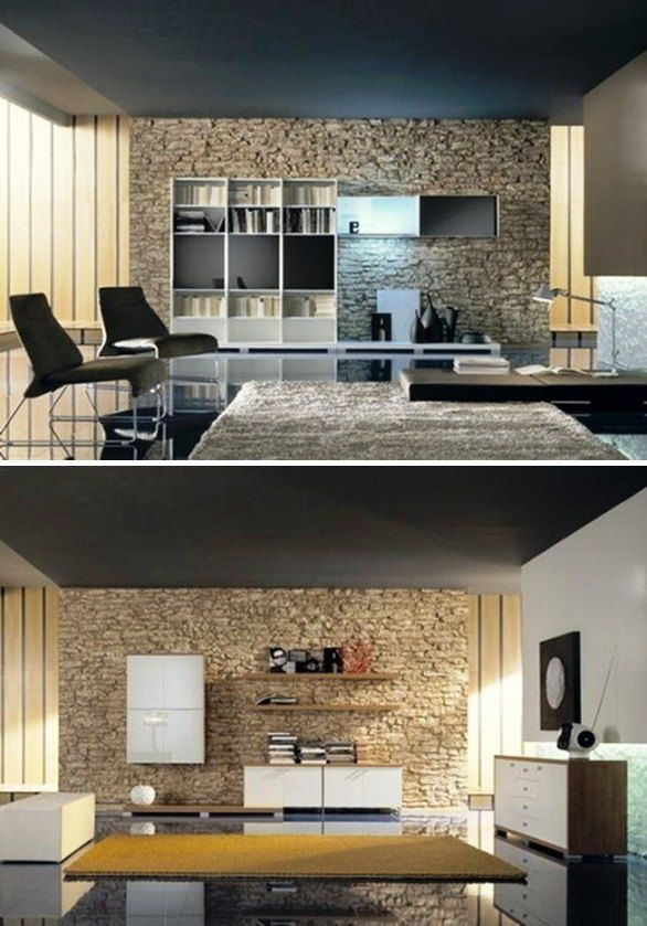 natural stone wall in the living room combination modern furniture design