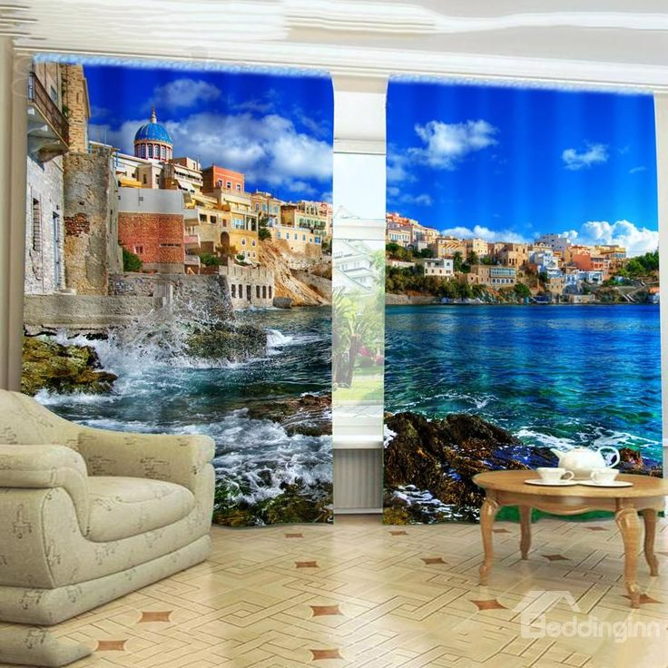 New Arrival Romantic Sea Life Mysterious Castle Blackout Curtain on sale, Buy Retail Price 3D Scenery Curtains at Beddinginn.com