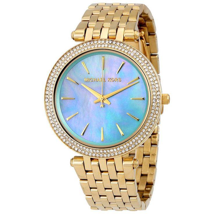 Michael Kors Darci Women's Blue-Green Mother-of-Pearl Dial/Goldtone Bracelet Watch MK3498
