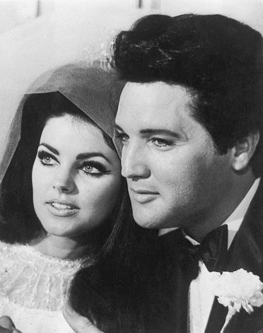 Elvis Presley and Priscilla Beaulieu after their wedding in Las Vegas.