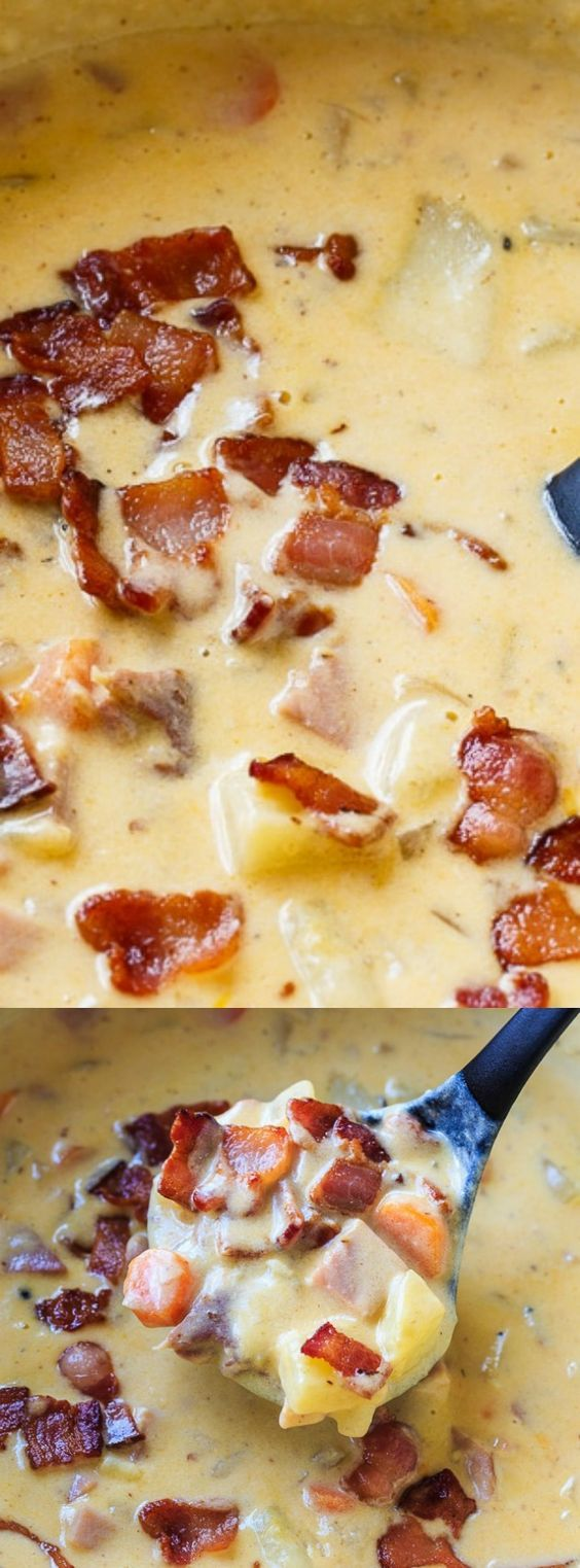 This Cheesy Ham and Potato Chowder from Spicy Southern Kitchen is thick and creamy and the perfect way to use up leftover ham! Bacon, carrots, onion, and potato make this one hearty and delicious soup!