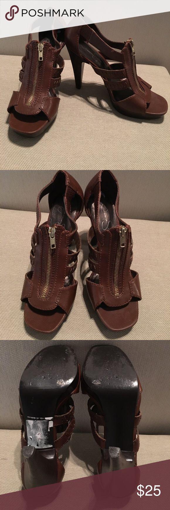 Jessica Simpson brown zip up open toed heels 7.5 Jessica Simpson brown with gold zip up opened toed heels. 7.5, worn twice. Jessica Simpson Shoes Heels
