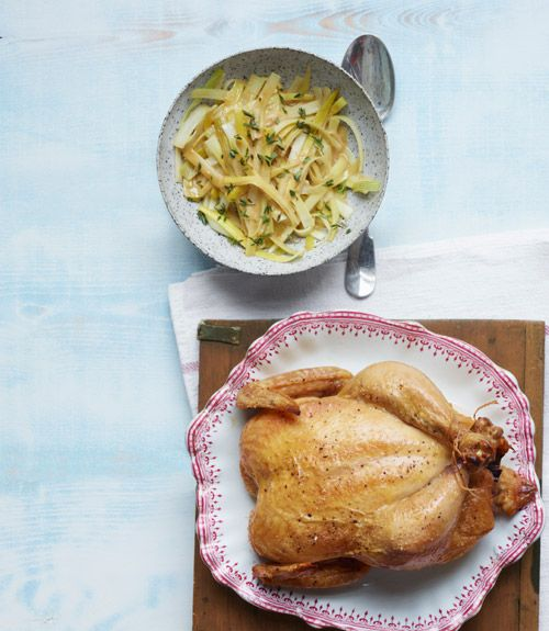 Greg Higgins, chef at Higgins in Portland, Oregon, gave us this recipe: Roast Chicken with Baby Leeks. Yes, please! #recipes #dinner