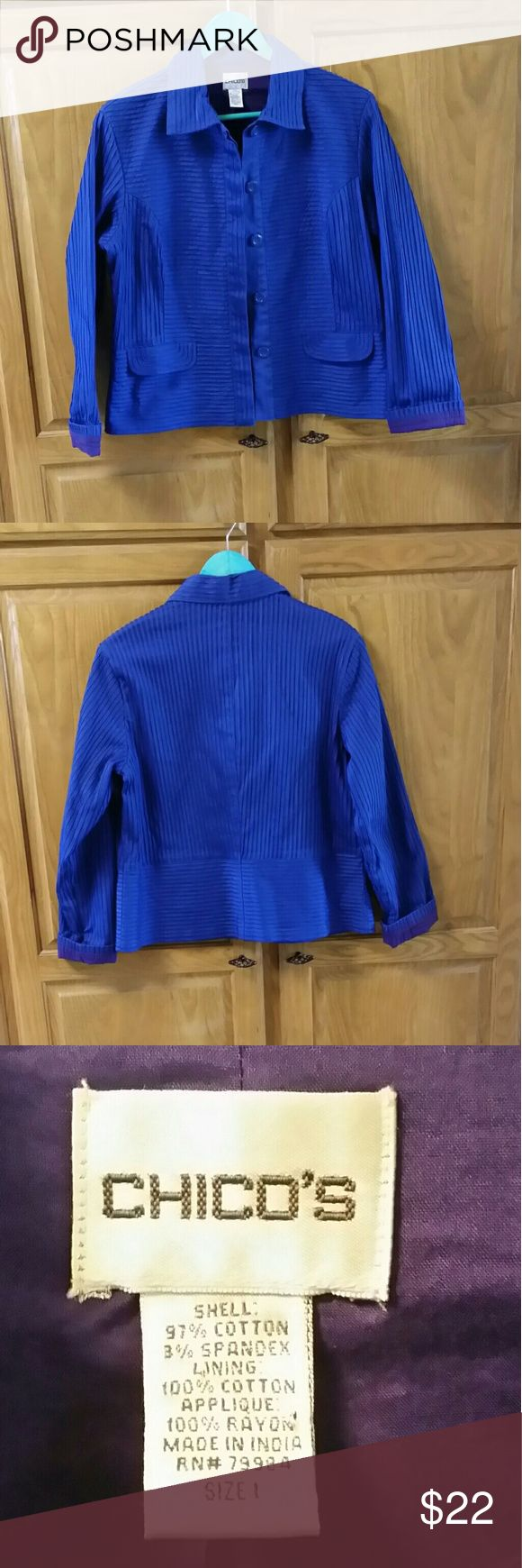 Chico's blazer jacket Size 1 This is a beautiful bright Royal Blue fully lined jacket blazer from Chico's.  It is a size 1.  It has five big buttons down the front and two faux pockets on the front.  No actual pockets.  EXCELLENT USED CONDITION  Shell 97% Cotton             3% Spandex Lining 100% Cotton Applique 100% Rayon Chico's Jackets & Coats Blazers