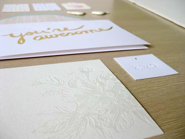 Collection // Letterpress [blind, white, emboss, debossed, flower, floral, paper, xoxo, kiss, hugs, you're awesome, card, envelope, sugar paper, the collectors room, bird magnets, mint, gold, foil, polka dot, dots, spots, gift tags, strawberry] Kaleidoscope Blog
