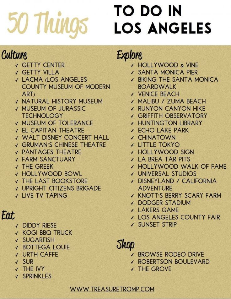 50 Things To Do In Los Angeles - Free Download!