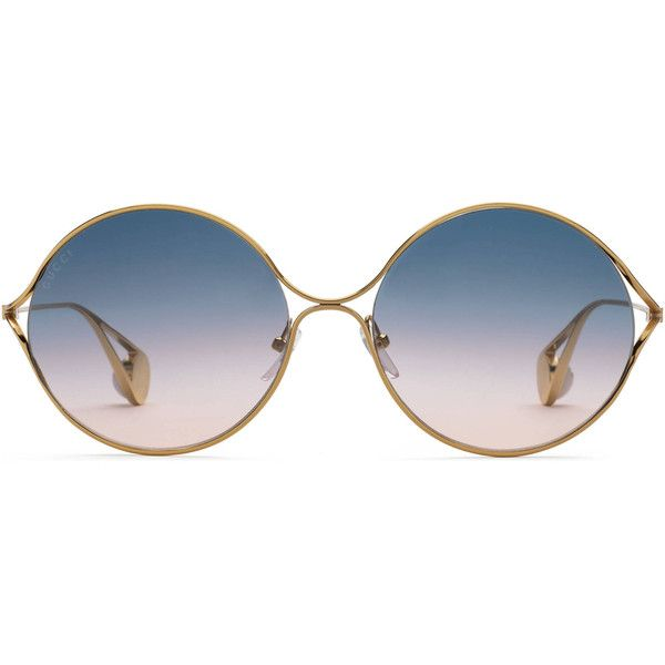 e1c4a20f853 Gucci Round-Frame Metal Sunglasses ( 490) ❤ liked on Polyvore featuring  accessories