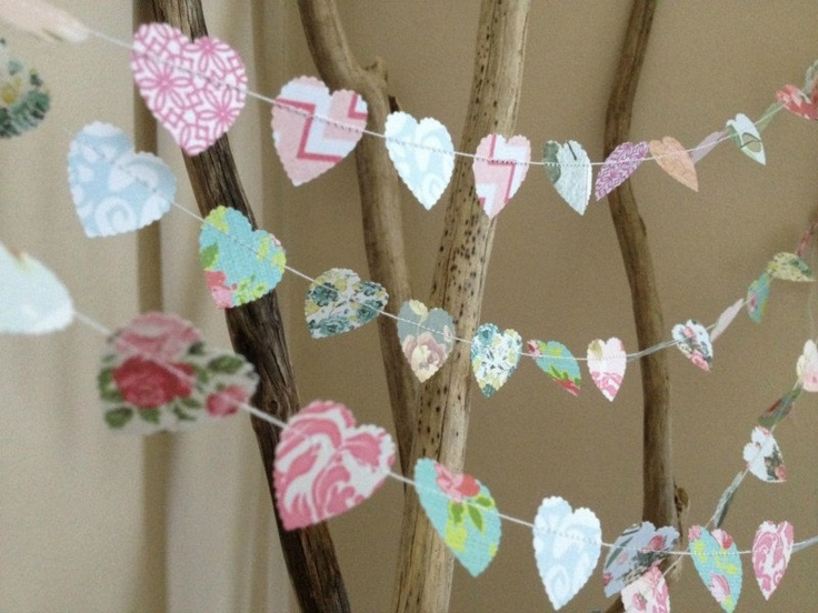 Mini paper heart garland vintage shabby chic roses - Deco baby shower rose ...
