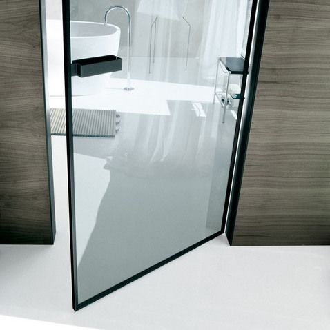 doors vela design Giuseppe Bavuso // two-directional swing opening, jamb in black aluminium, panel in transparent grey glass and black aluminium section