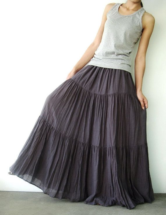 NO.5 Grey Lavender Cotton, Hippie Gypsy Boho Tiered Long Peasant Skirt