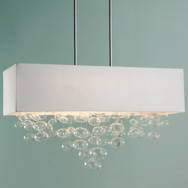 Rectangle Shade And Glass Bubbles Island Chandelier