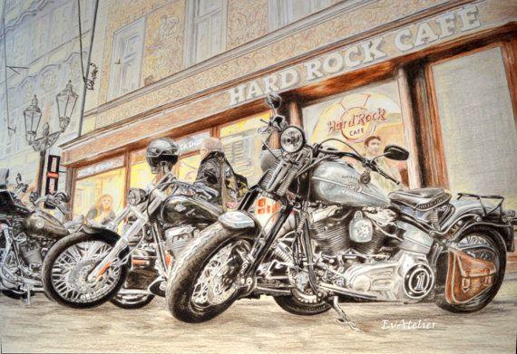 Harley-Davidson Legends Large Wall Art Motorbikes by EvAtelier1