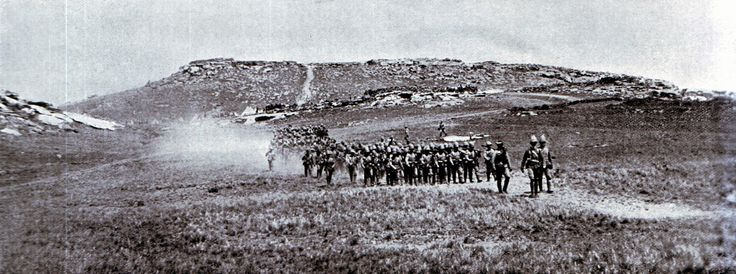 Two companies of 2nd Royal Irish Rifles marching from Bushman's Hoek to join the train before the Battle of Stormberg on 9th December 1899