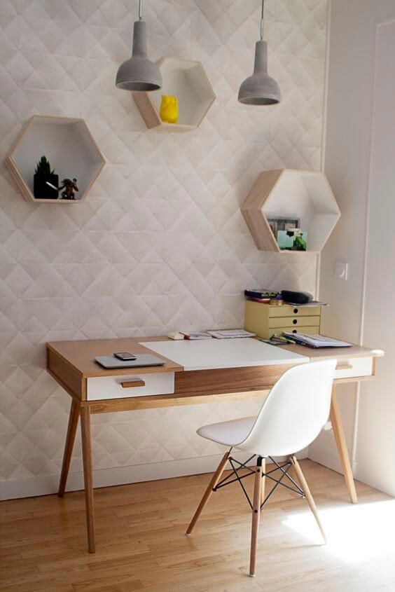 77 Gorgeous Examples of Scandinavian Interior Design Scandinavian-office-with-geometric-wall