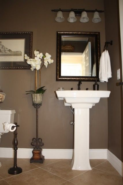 I want to do something dark, rich, and gray in the powder room. Maybe this? Behr Mocha Latte.