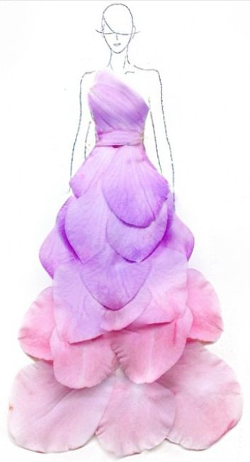 See flower petals be transformed in to beautiful whimsical dresses #fashion #DIY