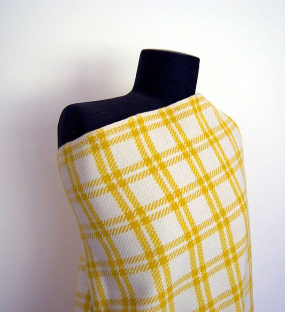 VINTAGE FABRIC 1960's yellow/white check wool by altfabrics, $2.00