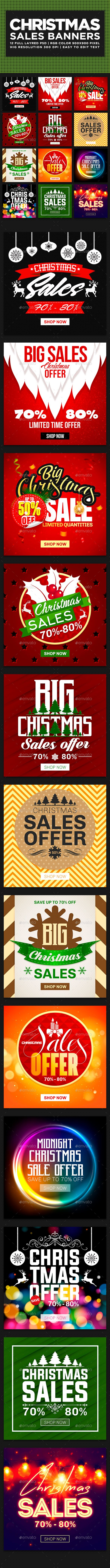 Christmas Sales Banners — Photoshop PSD #season #cyber monday • Download ➝ https://graphicriver.net/item/christmas-sales-banners/18934022?ref=pxcr