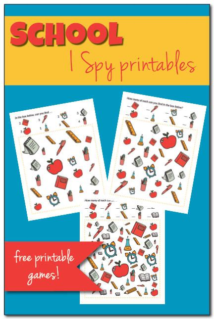 Free printable School I Spy games for kids || Gift of Curiosity