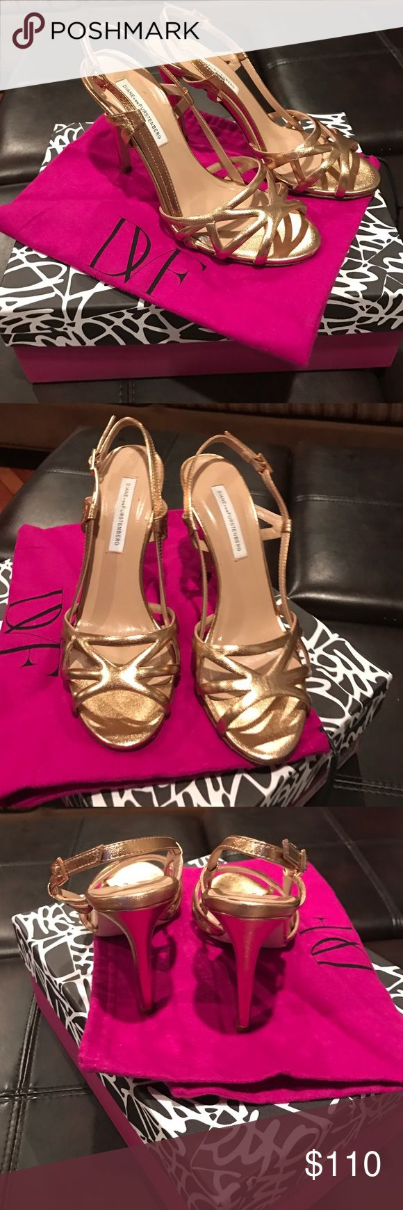 Diane von Furstenberg gold evening shoe. Gold strappy evening shoe.  Dust bag included. Worn once. Mint condition. Diane von Furstenberg Shoes Heels