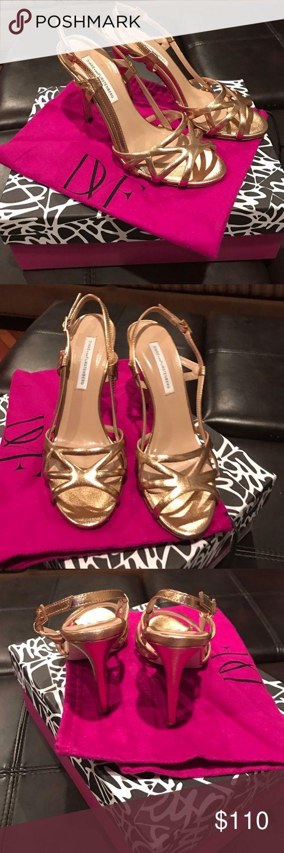Diane von Furstenberg gold evening shoe. Gold strappy evening shoe.  Dust bag included. Worn once. Mint condition. Diane von Furstenberg Shoes Heels