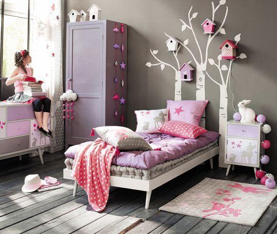 Du violet et une ambiance nature dans la chambre de fille - Maisons du Monde : des chambres d'enfant pleines de pep's - CôtéMaison.fr