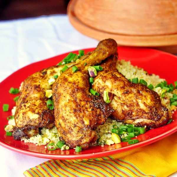 Easy Moroccan Spiced Baked Chicken with Pistachio Lemon Couscous ...