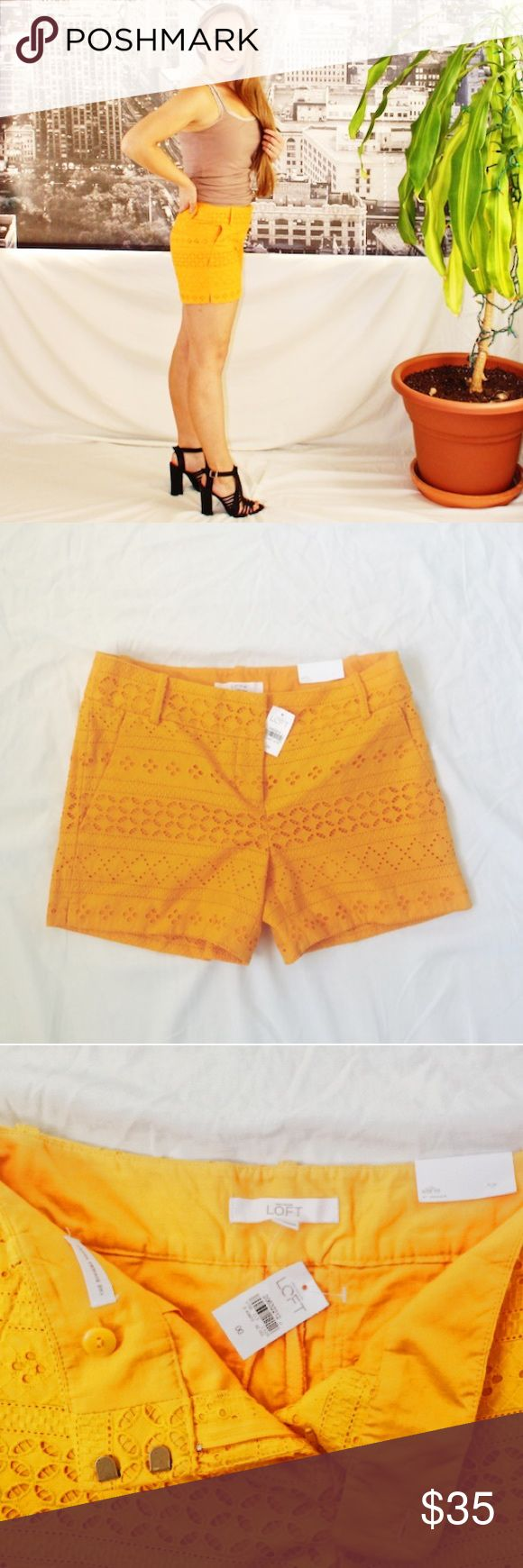 "NWT LOFT Riviera Eyelet Shorts Cotton eyelet shorts from LOFT with a 4"" inseam. The color (oh that COLOR!) is a vibrant goldenrod. LOFT Shorts"