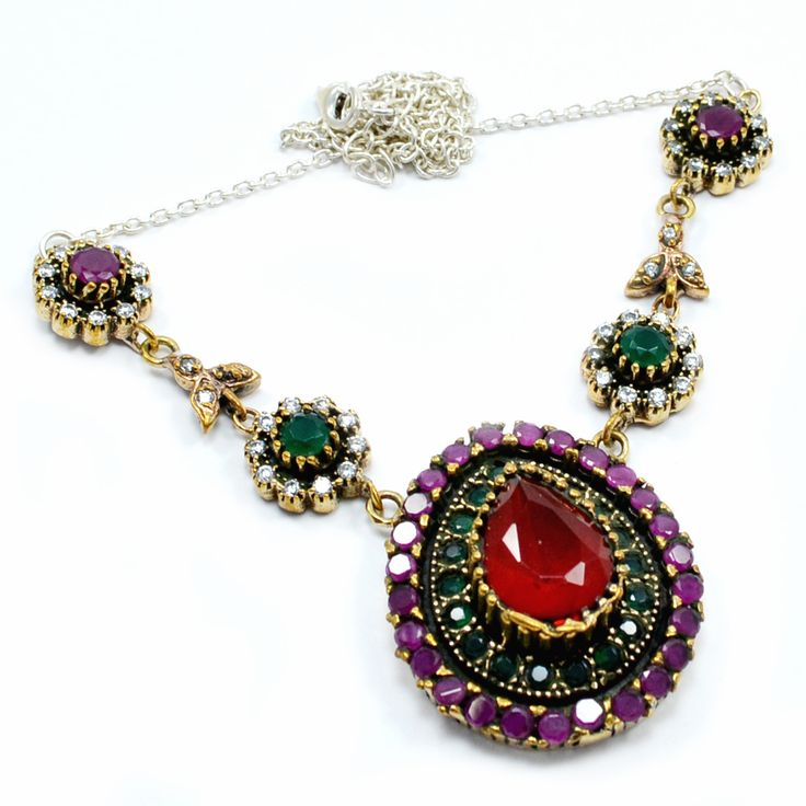 Silvesto India Ruby,Emerald And White Topaz (Lab) 925 Sterling Silver With Bronze Turkish Pendant Necklace Jewelry PG-7133  https://www.amazon.com/dp/B01EOH306U