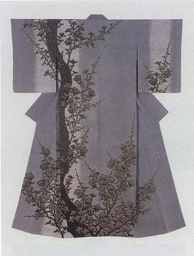 "Formal Kimono with yuzen-zome design ""Village of Red Plum Blossoms"" by Moriguchi Kaka, Japanese National Living Treasure"