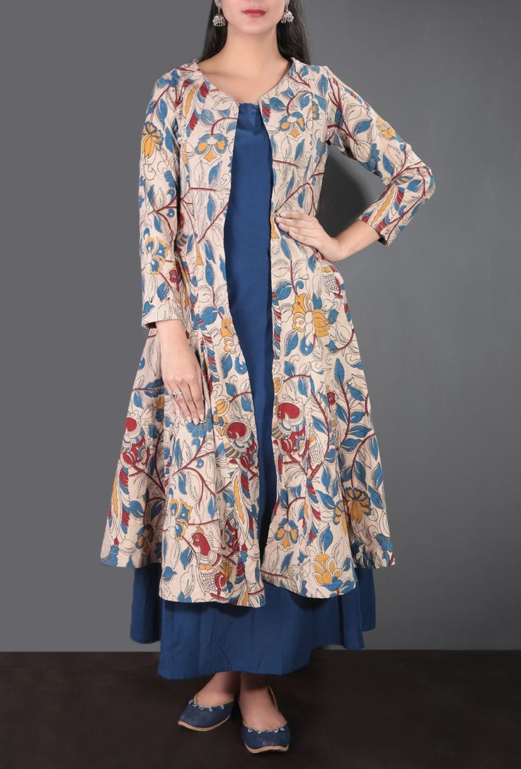 Buy Kalamkari Cape with Maxi Dress in Blue & Beige Online - Shop for Dresses Online at Best Prices | Tjori