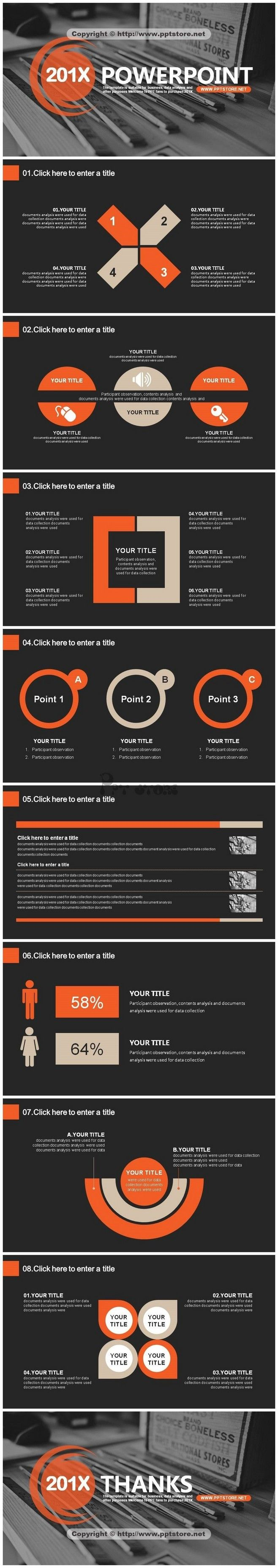 黑橙经典商务简约超实用报告模板 #排版#