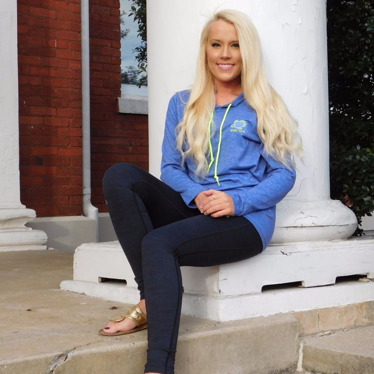 Embroidered Heather Blue Lightweight Hooded Tee