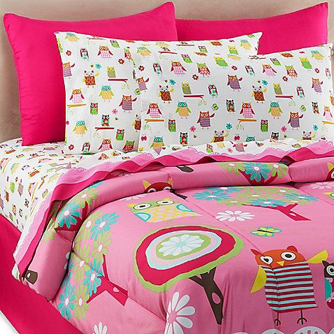 Owl Ditsy 6 8 Piece Full Comforter And Sheet Set Kids