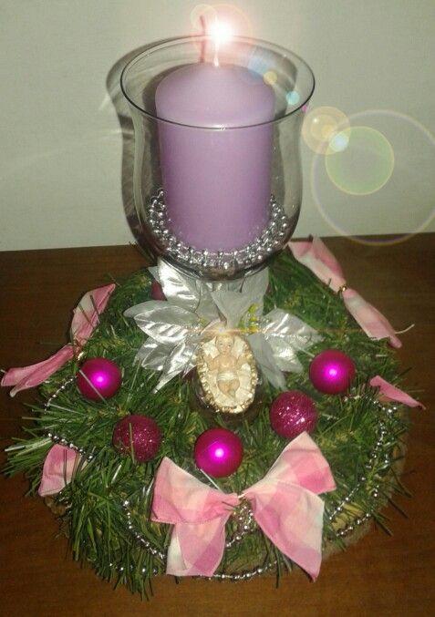 Centrotavola natalizio rosa argento